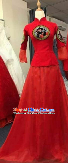 Asian Vietnam Traditional Wedding Red Dress Vietnamese National Classical Ao Dai Cheongsam for Women