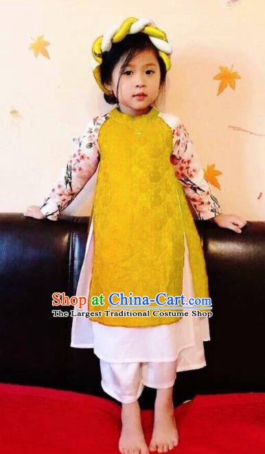 Asian Vietnam Traditional Yellow Dress Vietnamese National Classical Ao Dai Cheongsam for Kids