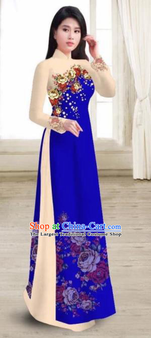 Asian Vietnam Traditional Printing Rose Royalblue Dress Vietnamese National Classical Ao Dai Cheongsam for Women