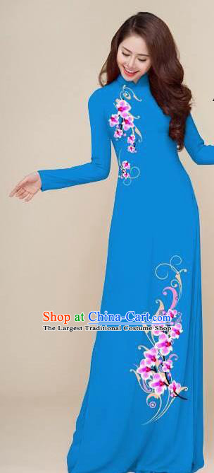 Asian Vietnam Traditional Printing Plum Blue Dress Vietnamese National Classical Ao Dai Cheongsam for Women
