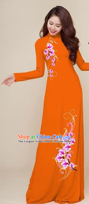 Asian Vietnam Traditional Printing Plum Orange Dress Vietnamese National Classical Ao Dai Cheongsam for Women