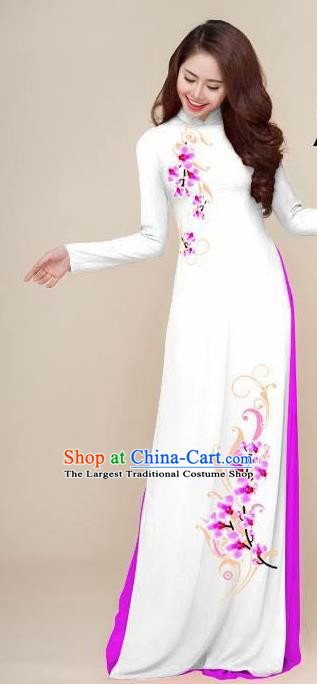 Asian Vietnam Traditional Printing Plum White Dress Vietnamese National Classical Ao Dai Cheongsam for Women
