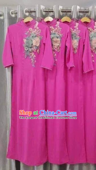 Asian Vietnam Traditional Embroidered Rosy Dress Vietnamese National Classical Ao Dai Cheongsam for Women