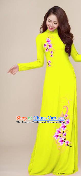 Asian Vietnam Traditional Printing Plum Yellow Dress Vietnamese National Classical Ao Dai Cheongsam for Women
