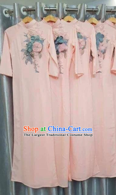 Asian Vietnam Traditional Embroidered Pink Dress Vietnamese National Classical Ao Dai Cheongsam for Women