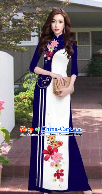 Asian Vietnam Traditional Printing Flowers Deep Blue Dress Vietnamese National Classical Ao Dai Cheongsam for Women