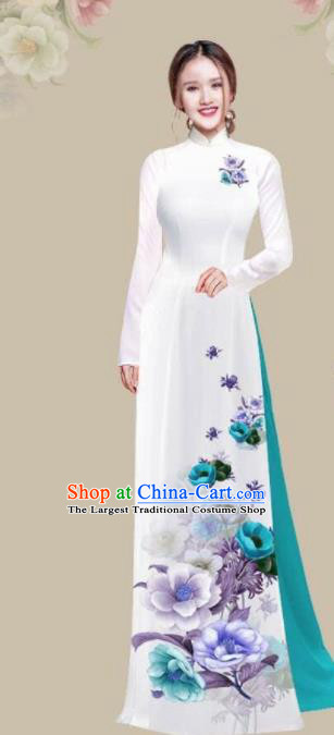 Asian Vietnam Traditional Printing Camellia White Dress Vietnamese National Classical Ao Dai Cheongsam for Women