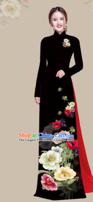 Asian Vietnam Traditional Printing Camellia Black Dress Vietnamese National Classical Ao Dai Cheongsam for Women