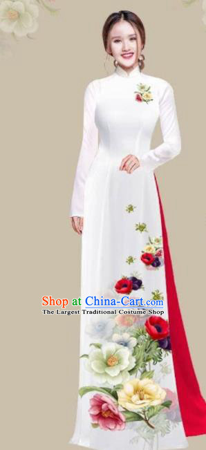 Asian Vietnam Traditional Printing Camellia Dress Vietnamese National Classical Ao Dai Cheongsam for Women