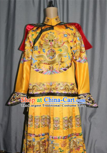 Chinese Traditional Drama Costume Ancient Qing Dynasty Emperor Embroidered Dragon Robe for Men