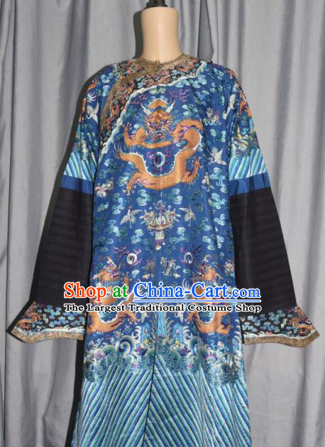 Chinese Traditional Drama Costume Ancient Qing Dynasty Emperor Embroidered Blue Dragon Robe for Men