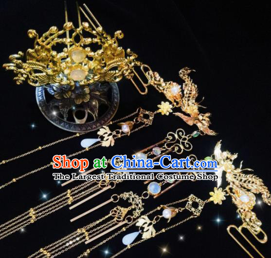 Chinese Ancient Palace Princess Golden Hairdo Crown Tassel Hairpins Traditional Hanfu Hair Accessories for Women