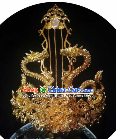 Chinese Ancient Swordsman Golden Hairdo Crown Hairpins Traditional Hanfu Dragon Hair Accessories for Men