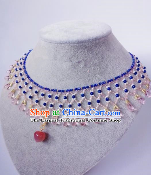 Chinese Ancient Palace Princess Rose Chalcedony Necklace Traditional Hanfu Jewelry Accessories for Women