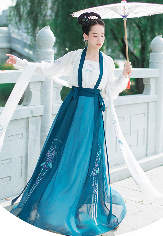 Chinese Traditional Nobility Lady Hanfu Dress Ancient Tang Dynasty Embroidered Historical Costume for Women