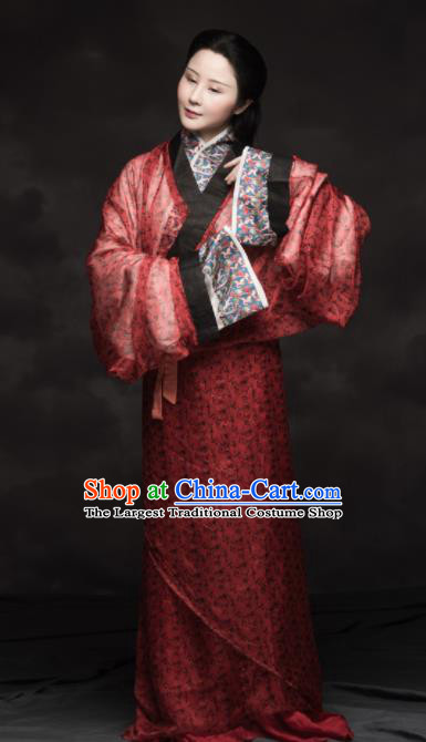 Chinese Ancient Han Dynasty Imperial Consort Replica Costume Traditional Court Lady Red Hanfu Dress for Women