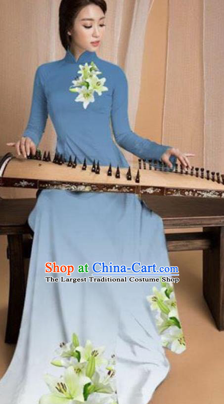 Asian Vietnam Traditional Printing Lily Flowers Blue Dress Vietnamese National Classical Ao Dai Cheongsam for Women