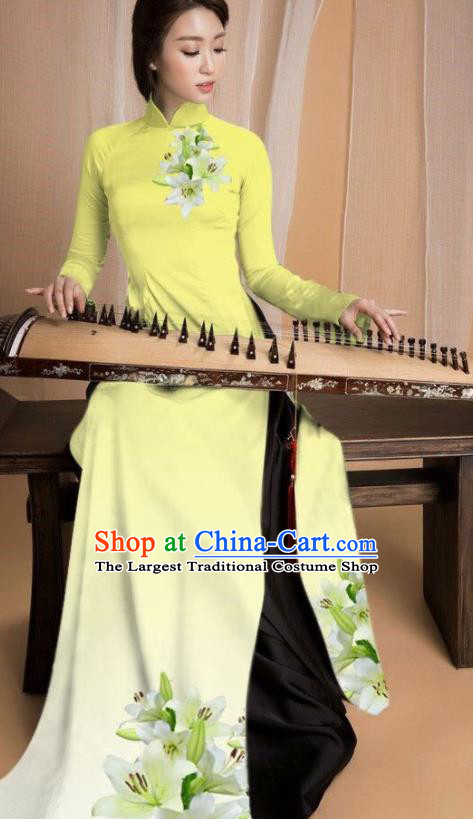 Asian Vietnam Traditional Printing Lily Flowers Yellow Dress Vietnamese National Classical Ao Dai Cheongsam for Women