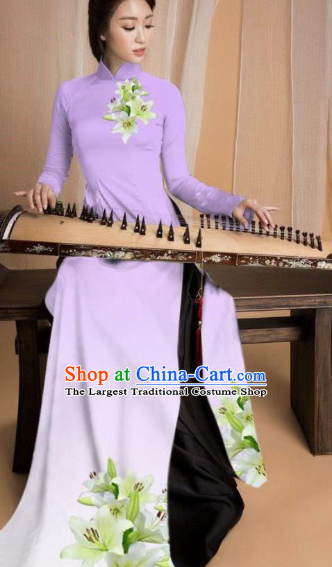 Asian Vietnam Traditional Printing Lily Flowers Purple Dress Vietnamese National Classical Ao Dai Cheongsam for Women