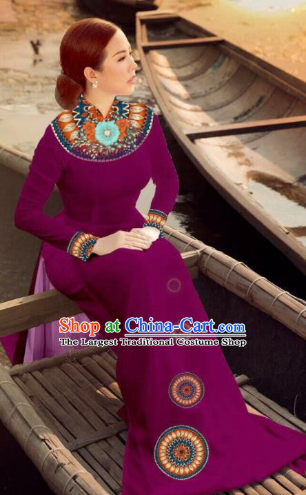 Asian Vietnam Traditional Bride Wine Red Dress Vietnamese National Classical Ao Dai Cheongsam for Women