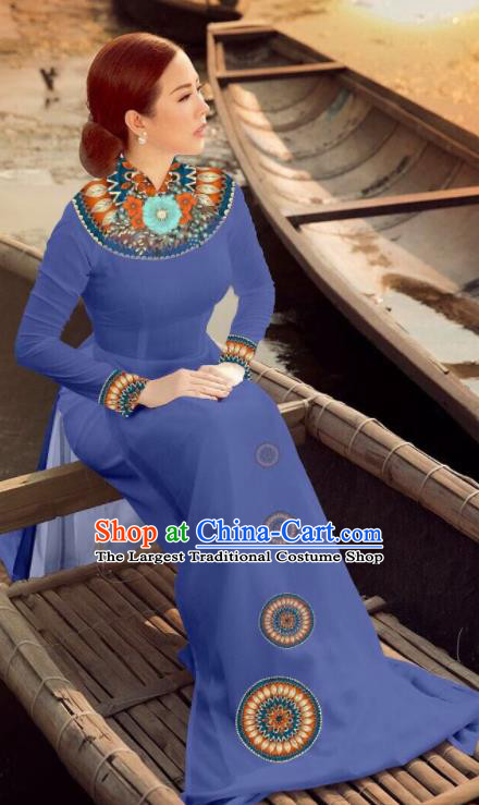 Asian Vietnam Traditional Bride Lake Blue Dress Vietnamese National Classical Ao Dai Cheongsam for Women