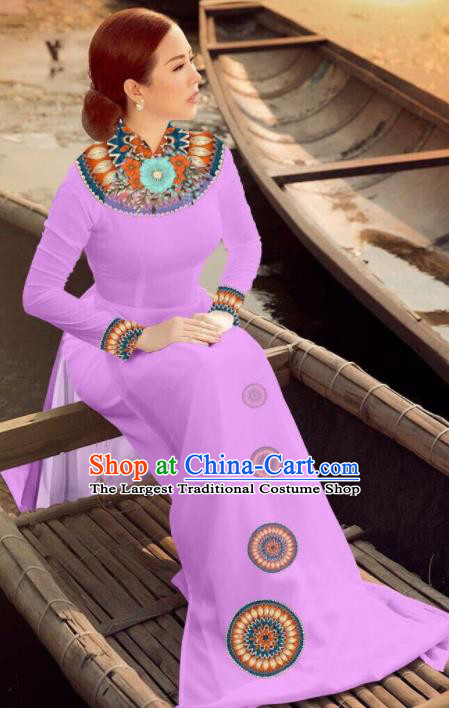 Asian Vietnam Traditional Bride Lilac Dress Vietnamese National Classical Ao Dai Cheongsam for Women