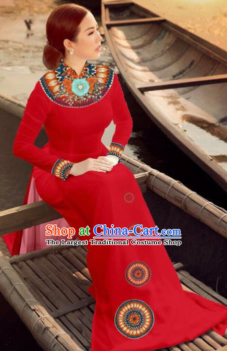 Asian Vietnam Traditional Bride Red Dress Vietnamese National Classical Ao Dai Cheongsam for Women