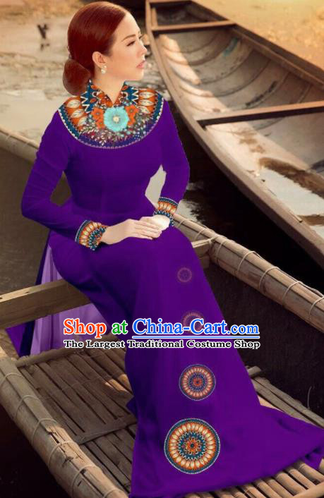 Asian Vietnam Traditional Bride Purple Dress Vietnamese National Classical Ao Dai Cheongsam for Women