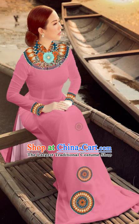 Asian Vietnam Traditional Bride Pink Dress Vietnamese National Classical Ao Dai Cheongsam for Women