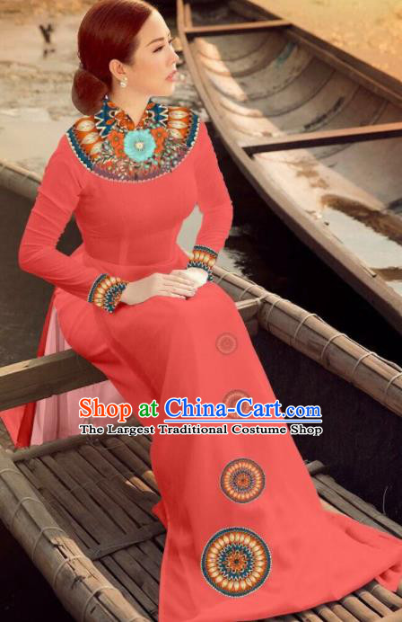 Asian Vietnam Traditional Bride Watermelon Red Dress Vietnamese National Classical Ao Dai Cheongsam for Women