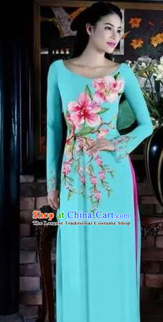 Asian Vietnam Traditional Bride Printing Peach Blossom Dress Vietnamese National Classical Ao Dai Cheongsam for Women