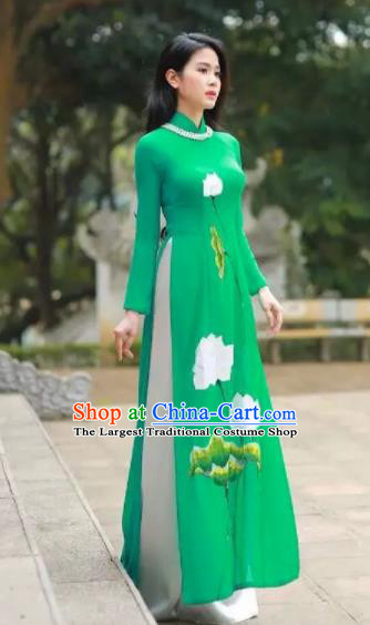 Asian Vietnam Traditional Bride Printing Lotus Green Dress Vietnamese National Classical Ao Dai Cheongsam for Women
