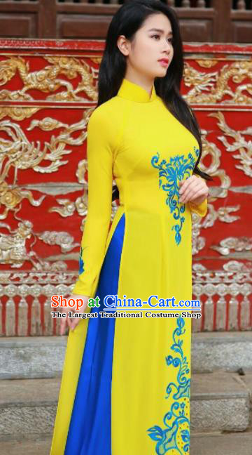 Asian Vietnam Traditional Bride Printing Yellow Dress Vietnamese National Classical Ao Dai Cheongsam for Women