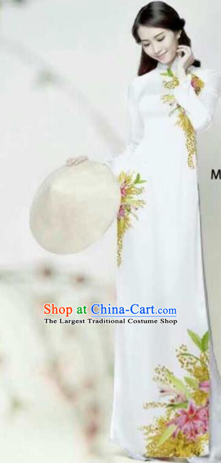 Asian Vietnam Traditional Bride Printing Flowers White Dress Vietnamese National Classical Ao Dai Cheongsam for Women