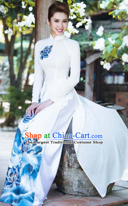 Asian Vietnam Traditional Bride Printing Blue Lotus Dress Vietnamese National Classical Ao Dai Cheongsam for Women