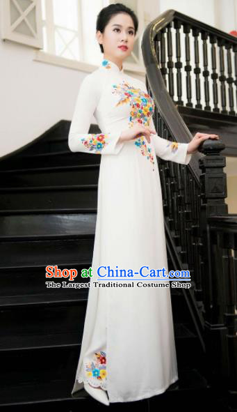 Asian Vietnam Traditional Bride Printing White Dress Vietnamese National Classical Ao Dai Cheongsam for Women