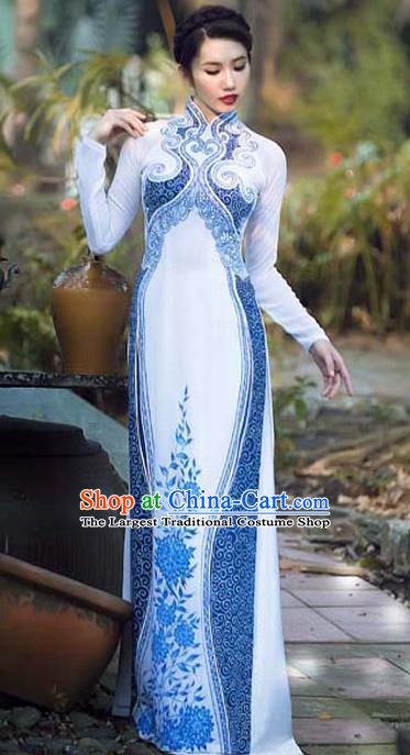 Asian Vietnam Traditional Bride Printing Blue Peony Dress Vietnamese National Classical Ao Dai Cheongsam for Women
