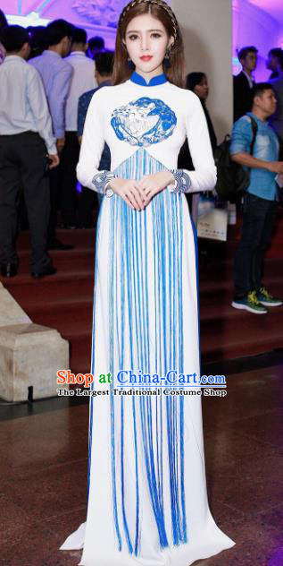 Asian Vietnam Traditional Court Dress Vietnamese National Classical Ao Dai Cheongsam for Women