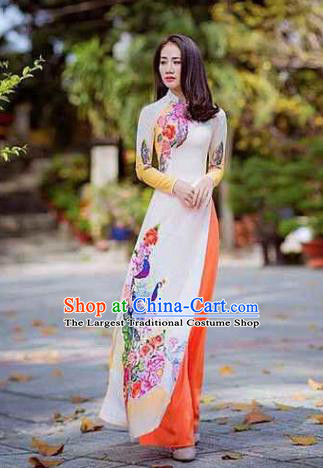 Asian Vietnam Traditional Printing Peacock Peony Dress Vietnamese National Classical Ao Dai Cheongsam for Women