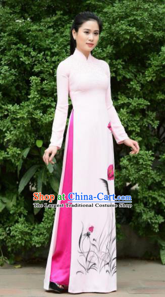 Asian Vietnam Traditional Bride Printing Light Pink Dress Vietnamese National Classical Ao Dai Cheongsam for Women