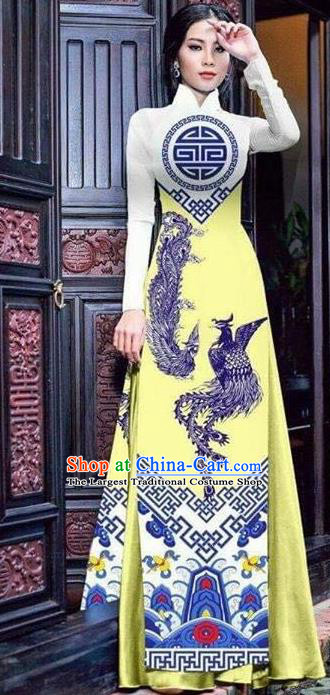 Asian Vietnam Traditional Bride Printing Phoenix Yellow Dress Vietnamese National Classical Ao Dai Cheongsam for Women
