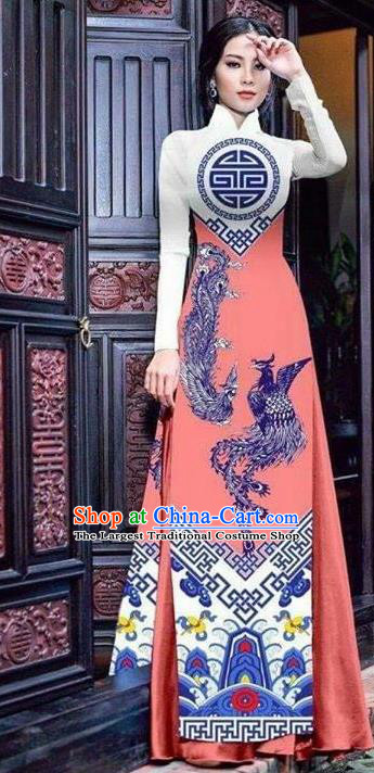 Asian Vietnam Traditional Bride Printing Phoenix Pink Dress Vietnamese National Classical Ao Dai Cheongsam for Women