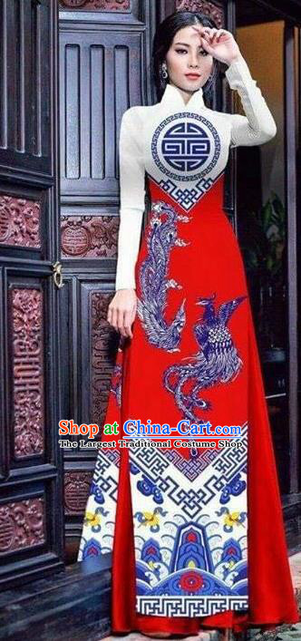 Asian Vietnam Traditional Bride Printing Phoenix Red Dress Vietnamese National Classical Ao Dai Cheongsam for Women
