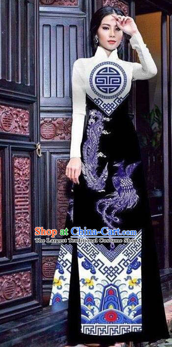 Asian Vietnam Traditional Bride Printing Phoenix Black Dress Vietnamese National Classical Ao Dai Cheongsam for Women