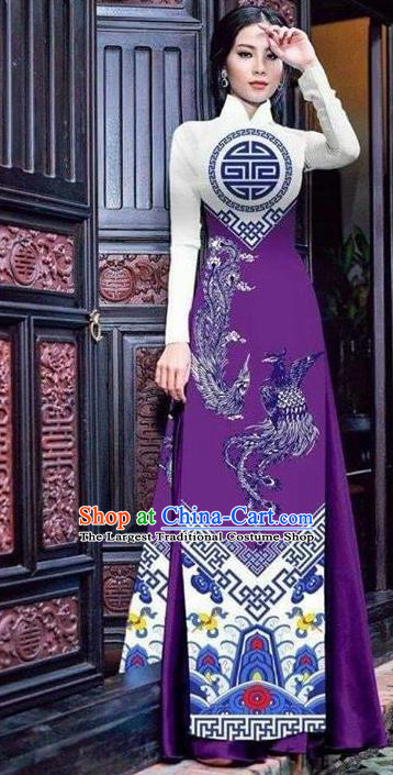 Asian Vietnam Traditional Bride Printing Phoenix Purple Dress Vietnamese National Classical Ao Dai Cheongsam for Women