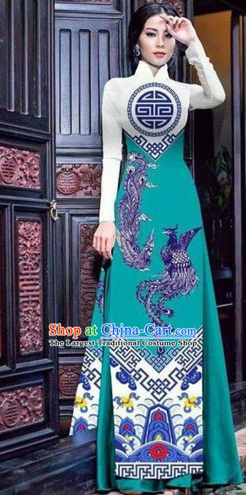 Asian Vietnam Traditional Bride Printing Phoenix Green Dress Vietnamese National Classical Ao Dai Cheongsam for Women