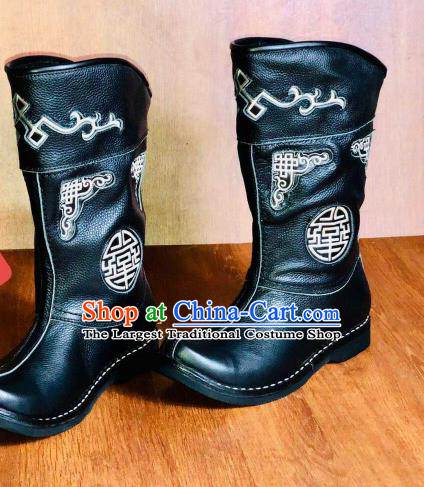 Traditional Chinese Mongol Nationality Wedding Shoes Mongolian Minority Folk Dance Leather Boots for Men