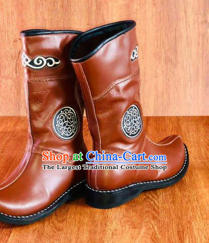 Traditional Chinese Mongol Nationality Orange Shoes Mongolian Minority Folk Dance Leather Boots for Men