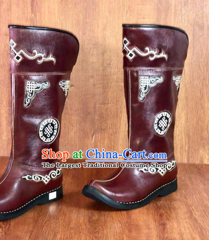 Traditional Chinese Mongol Nationality Wine Red Shoes Mongolian Minority Folk Dance Leather Boots for Men