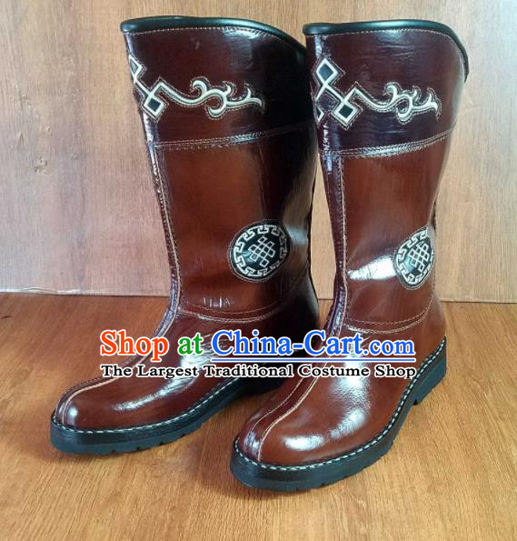 Traditional Chinese Mongol Nationality Brown Shoes Mongolian Minority Folk Dance Leather Boots for Men